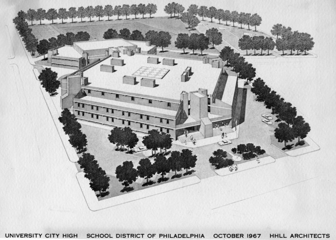 A vision for University City High School | Rendering by H2L2, courtesy of Temple Urban Archives