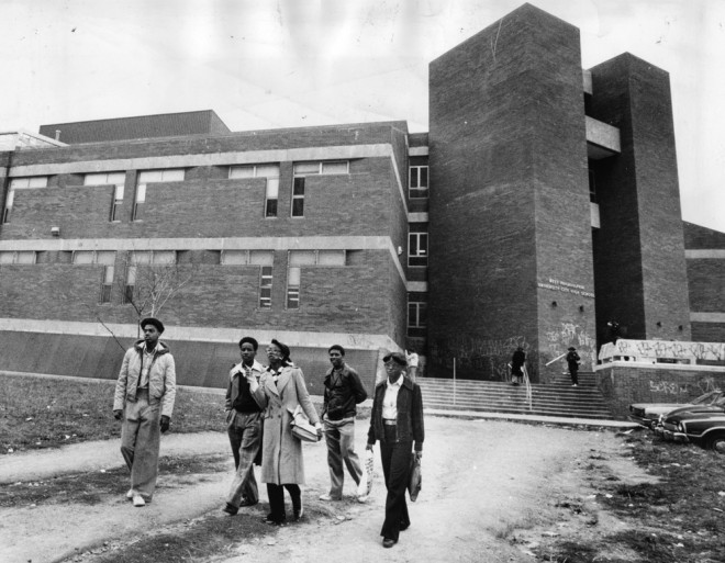 By 1978, seven years after it opened, UCHS was rundown and tagged with graffiti | Image by Philadelphia Evening Bulletin, courtesy of Temple Urban Archives