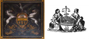 They've come undone: LEFT, Jacob Rutter's 1785 painting of the Commonwealth Coat of Arms (photo by Sam Robinson at Independence Hall), RIGHT, 1854 proposed revision of City Seal (from 1909 yearbook of the Pennsylvania Society of New York)