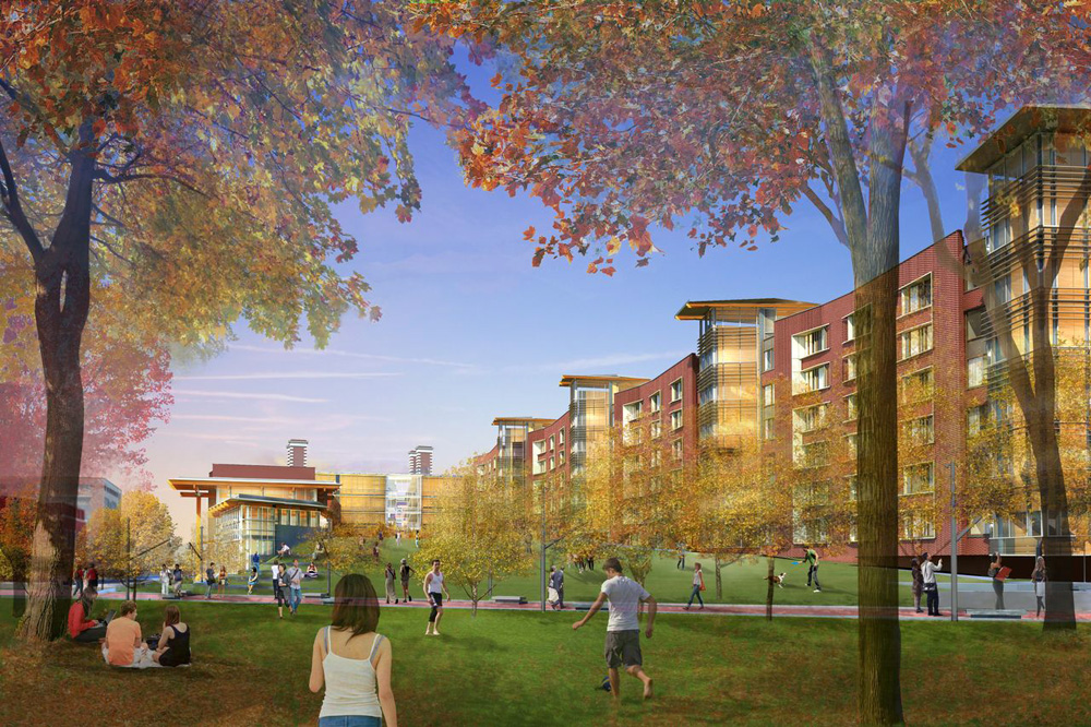 View to Lifted Lawn along Woodland Walk | Rendering courtesy of University of Pennsylvania and Bohlin Cywinski Jackson