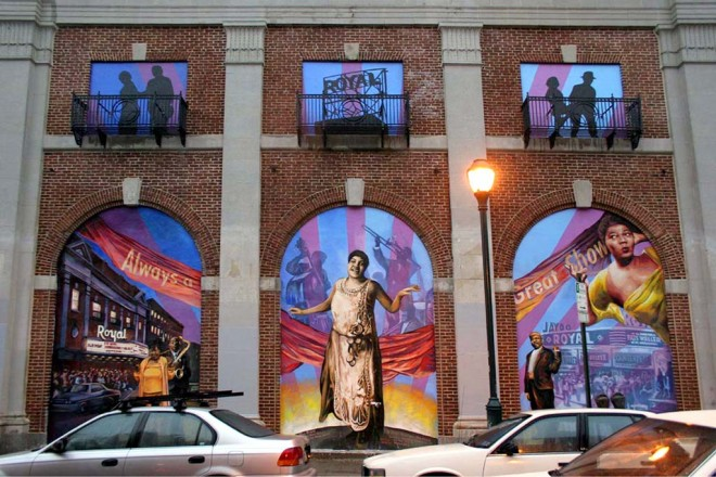 Then-new mural adoring the façade of the Royal Theater, 2005 | Photo: Bradley Maule