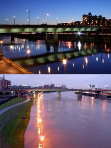Bridges past: TOP, Chestnut Street Bridge in 2006—its lighting will be restored after PennDOT's renovation of the bridge; BOTTOM, Walnut Street Bridge during a 2005 flood of the Schuylkill | Photos: Bradley Maule