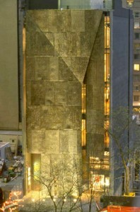 The former American Folk Art Museum (now part of MoMA), designed by Tod Williams Billie Tsien Architects. with Matthew Baird as project architect