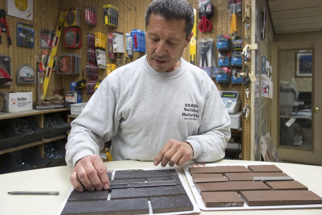Tony at Kerr's Building Materials at 16th & Washington, a major supplier of black brick to Philly builders | Photo: Theresa Stigale