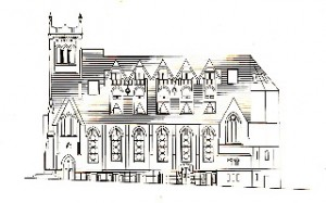 Exterior schematic by architect Frank Weiss, circa-1988