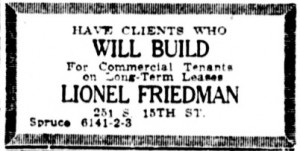 1922 Ad for the Lionel Friedman Company | Source: Library of Congress