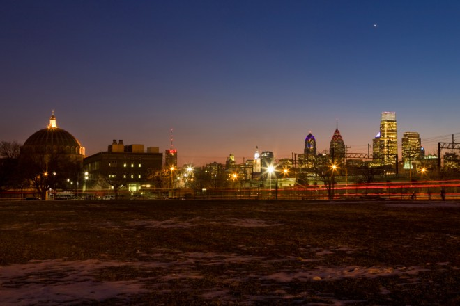 Sunset—and Venus—over the year that was, 2013 in Philadelphia