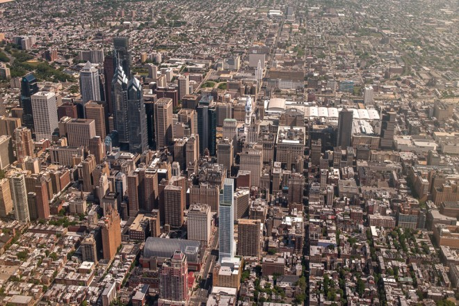 Aerial rendering of SLS International on the Philly skyline | Rendering provided by Dranoff Properties and Kohn Pedersen Fox architects