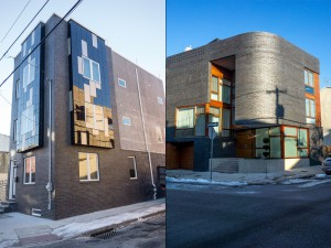 Shiny black brick: LEFT, 17th & Titan in Point Breeze, RIGHT, 4th & Poplar in Northern Liberties | Photos: Theresa Stigale