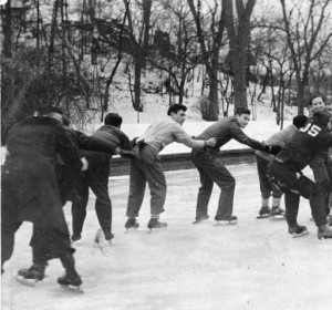 Ice skating on Gustine Lake | Image by George McDowell for the Philadelphia Evening Bulletin, accessed via Temple University Libraries, Special Collections Research Center