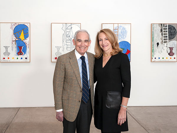 """""""Keith L. and Katherine Sachs in the Anne d'Harnoncourt Gallery, which houses 5 Postcards by Jasper Johns."""" (Photo: Constance Mensh, for the Philadelphia Museum of Art"""