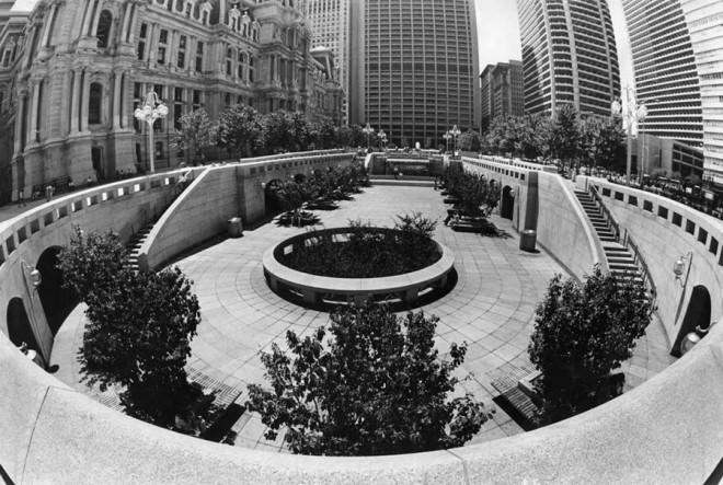 In urban renewal black & white, even Dilworth Plaza looked spiffy; Vincent Kling's plaza is flanked by his One Meridian Plaza (rear), Centre Square, and Penn Center buildings (right), as well as City Hall | Image used with permission of the Special Collections Research Center, Temple University Libraries, Philadelphia, PA