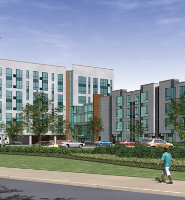 Blackney Hayes Architects rendering of Canus's initial proposal, a 160-unit development called The Viridian