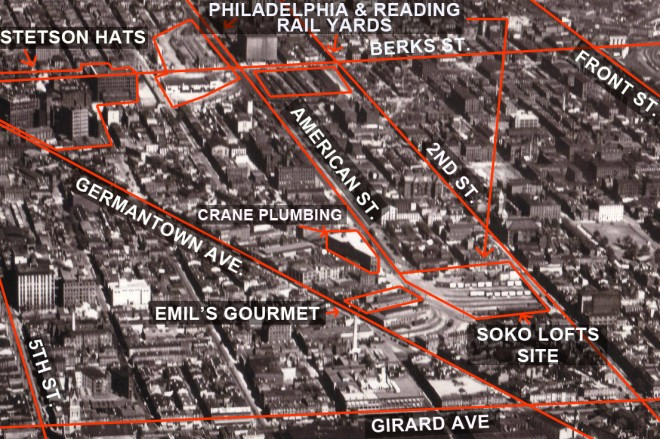 Seen in this 1931 photo, South Kensington was perhaps Philadelphia's most intensively industrial neighborhood   Photo: Dallin Aerial Survey Co., Hagley Digital Archives