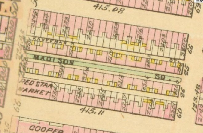 Block Configuration of the Eastern Block of Madison Square and its associated service alleys (Bromley, Geo. Philadelphia Atlas. Philadelphia, 1910)