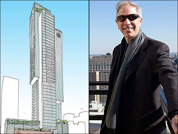 The SLS International & its developer | Rendering by Kohn Pedersen, and photo by Ed Hille, for the Daily News