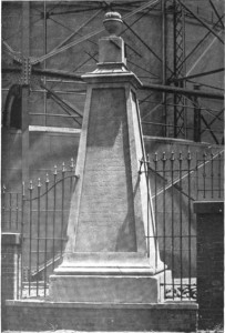 The monument in its last decade at its original location, 1894 | Source: Report of the Proceedings of the Numismatic and Antiquarian Society of Philadelphia