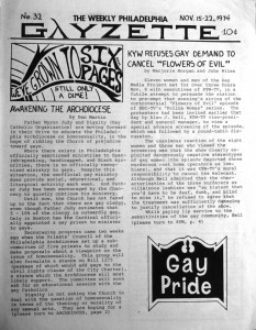 The Weekly Philadelphia Gayzette, circa 1974, an early voice in Philly LGBT journalism | Image via author's Gayborhood Guru blog