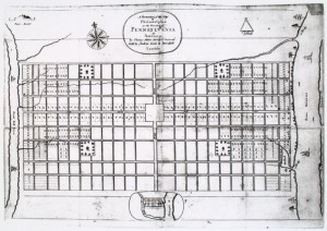 In 1683, Thomas Holme's Portraiture of the City of Philadelphia depicted its two square miles; in 1854, the City's boundary increased to over 130 square miles