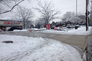 On the day CVS announced it would stop selling cigarettes, the $2B loss it would suffer for it was already being felt in Mt. Airy, where the poor corporation couldn't even shovel or salt its sidewalk. (The driveways and parking lots were okay though.) | Photo: Bradley Maule