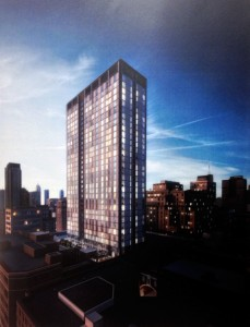 MIC Tower at night | Rendering of MIC Tower by Stantec Architecture, via Philadelphia Historical Commission