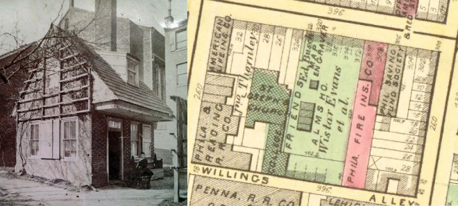 "On left: One-story Almshouse, built 1712, razed 1876 (Image: Free Library of Philadelphia). On right: Block Configuration of the Quaker Almshouse, the One-Story Building located between ""Ed"" and ""HO"" at the center of Wistar Evans ground. (Hopkins, G.M. Philadelphia Atlas. Philadelphia, 1875.)"