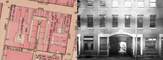 "On left: Block Configuration of the former Quaker Almshouse site showing the newly developed Walnut Place (Bromley, Geo. Philadelphia Atlas. Philadelphia, 1910.). On right: Walnut Street Entrance to Walnut Place with pedestrian street and its ""flower way"" median beyond the archway (Free Library of Philadelphia)."