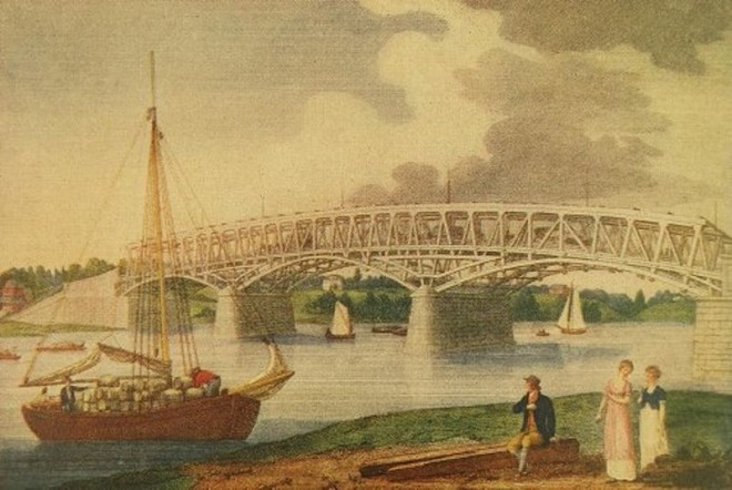 Thank god for William Birch. His early engraving of Philadelphia included this one from 1805 of the brand new Permanent Bridge at Market Street | via Wikipedia