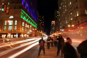Activating the programmed lights, seen here on opening night in November 2007, was a major milestone for the Avenue of the Arts, a pet project of Mayor Rendell's administration | Photo: Bradley Maule