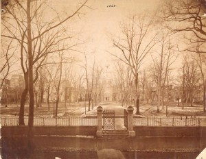 An 1868 view of Independence Square, enclosed by an iron fence. From http://documentingphiladelphia.com/2014/02/08/philadelphia-past-and-present-nature-and-structure-by-morgan-ash.
