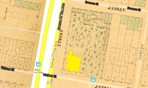 This extract from the 1858-1860 Philadelphia Atlas by Hexamer & Locher shows the orderly grounds of the remaining part of Vauxhall Garden at the northeast corner of Broad and Walnut Streets. The Garden originally took up the entire city block. Right at the intersection is the Dundas-Lippincott Mansion. From the Greater Philadelphia GeoHistory Network, www.PhilaGeoHistory.org.