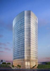 CHOP expansion Phase 1 tower, east elevation | Rendering: Ballinger, Pelli Clarke Pelli, Cooper, Robertson & Partners