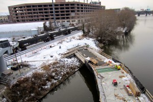 """Construction of the southern expansion of the Schuylkill Banks has brought that trail ashore just below the South Street Bridge, where CHOP has a """"future"""" plan of connecting to it via a bridge over the railroad tracks 