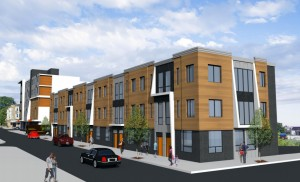Townhomes on 27th, looking north from the back of the North Star | Rendering courtesy of JKR Partners, MMPartners, and Adco American Development