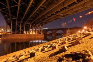 Before the mural: looking across the river under the Girard Avenue Bridge | Photo: Bradley Maule