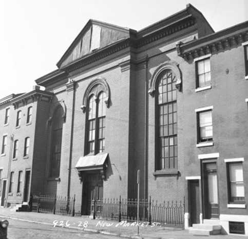 The Second Baptist/Hebrew Church in in 1959, pre-stucco.