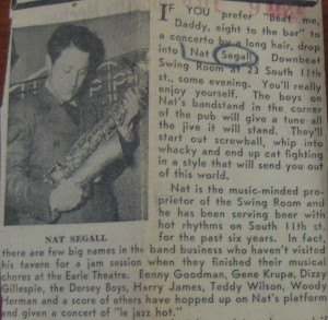 Nat Segall, pictured in a July 9, 1945 Philadelphia Inquirer article on the Downbeat Club. The article lists many of the jazz stars that appeared at the club. Courtesy of Temple University's Special Collections Research Center, Urban Archives.