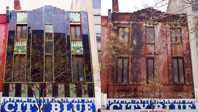 Before and after: City Blue/Dr. Scholls façade circa 2008 (left, Photo courtesy of Serena Blackwell) and April 2014 (right, photo: Peter Woodall)