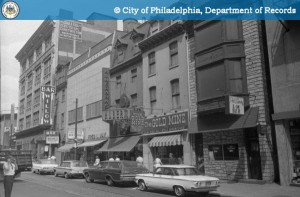 1965 view of east side of South 11th Street, south of Market Street. The Downbeat Club was located on the second floor of the Willow Bar, adjacent to the five-story building on the far left. Image via Phillyhistory.org