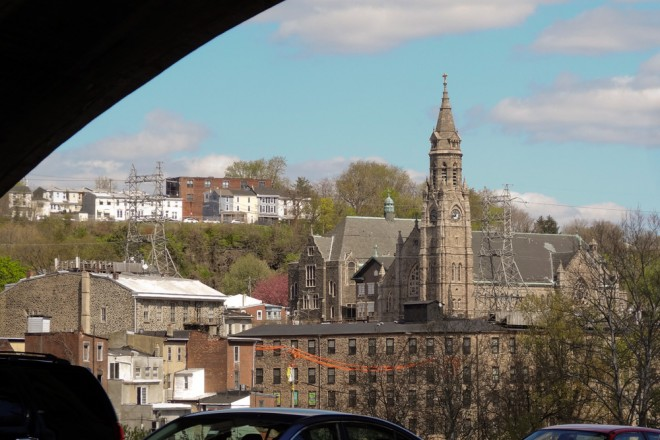 """Manayunk's Cathedral"" towers over its neighborhood, especially when seen from the Schuylkill Expressway 