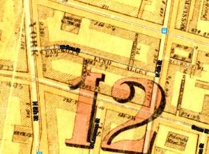 Paschall's Alley/Lynd Street. | From 1862 Philadelphia Atlas (Samuel L. Smedley). Greater Philadelphia GeoHistory Network.