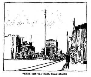 A 1898 drawing of the Indian Pole, with Chief Tamanend allegedly at top. Courtesy of Bob Skiba.