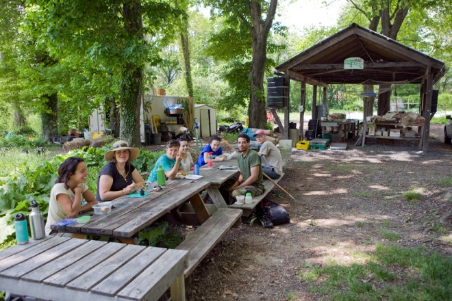 Weavers Way Co-op's Farm at Awbury was established in 2000; here, the staff breaks for lunch   Photo: Bradley Maule