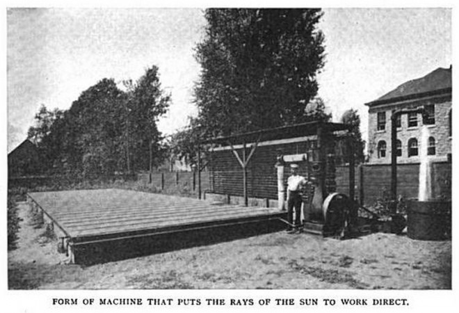 Once upon a time in Tacony, Frank Shuman developed a system to capture the sun's energy. You can make out St. Josaphat School behind the worker | Photo: Technical World magazine, September 1907