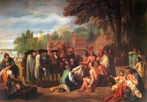 Benjamin West's famous painting Penn's Treaty With the Indians was commissioned by Penn's son Thomas and depicts his father and his people with Tamanend and his people | Image via Wikipedia, painting on permanent display at