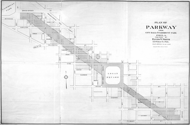 "Issued by publisher Elvino V. Smith, this 1904 ""Plan of the Parkway from City Hall to Fairmount Park"" shows an early view of the Fairmount Parkway's intended route. 