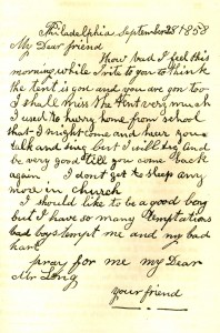 A replica of one of the letters from children that Rev. Long received. From The Children of the Tent; Or, the Work of God Among the Young, At the Union Tabernacle (1859).