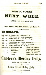 An advertisement for a prayer meeting, from The Union Tabernacle; or Moveable Tent-Church: Showing in Its Rise and Success a New Department of Christian Enterprise (1859).