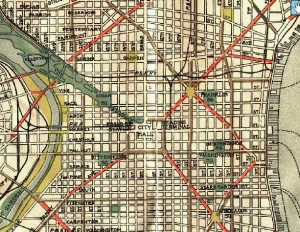 "This ""Map of Philadelphia and Vicinity Showing Suggested Improvement of the Street and Park System"" (1911) was issued by the Bureau of Surveys, General Plans Division 