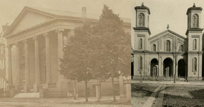 Chambers Presbyterian Church shortly after front portico addition, left. Wylie Memorial Presbyterian Church, right. | Source: Library Company of Philadelphia (left), Dedication Souvenir of the Chambers-Wylie Memorial Presybterian Church (right)